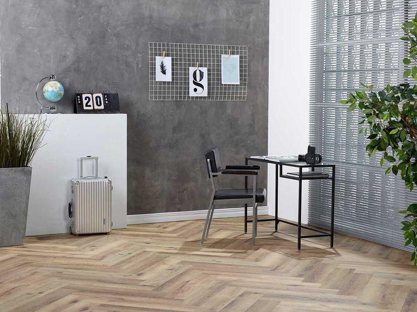 PVC vloer Spigato dark oak