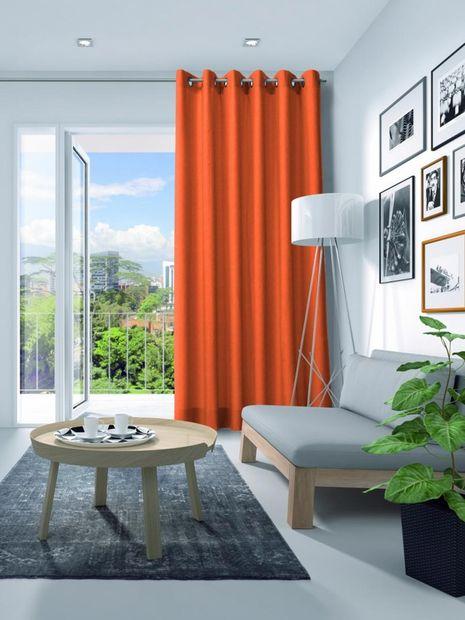 Gordijn Elegance velours fluor oranje