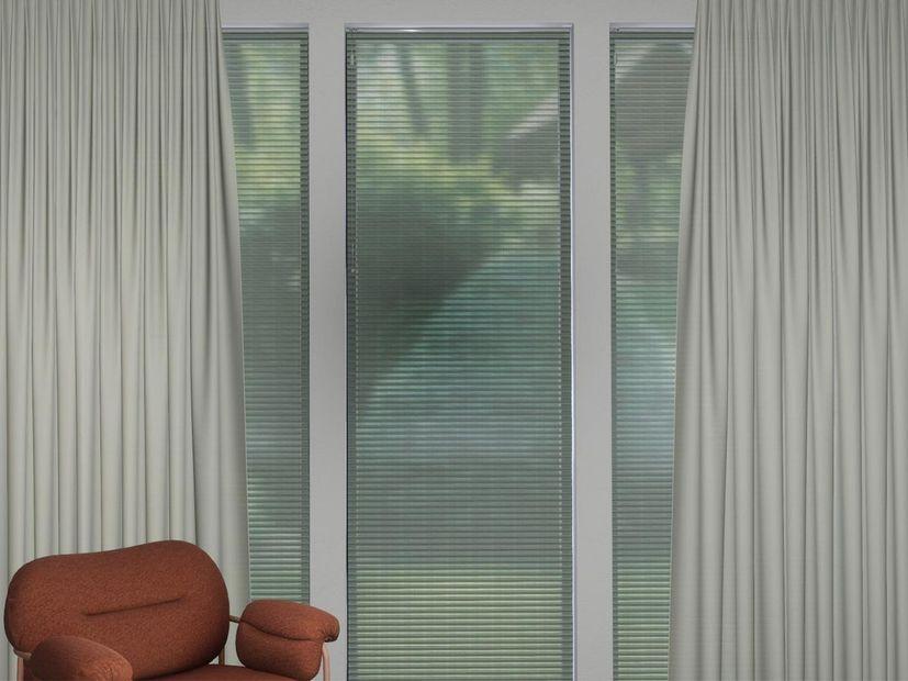 Plisségordijn dubbel R-line groen/wit
