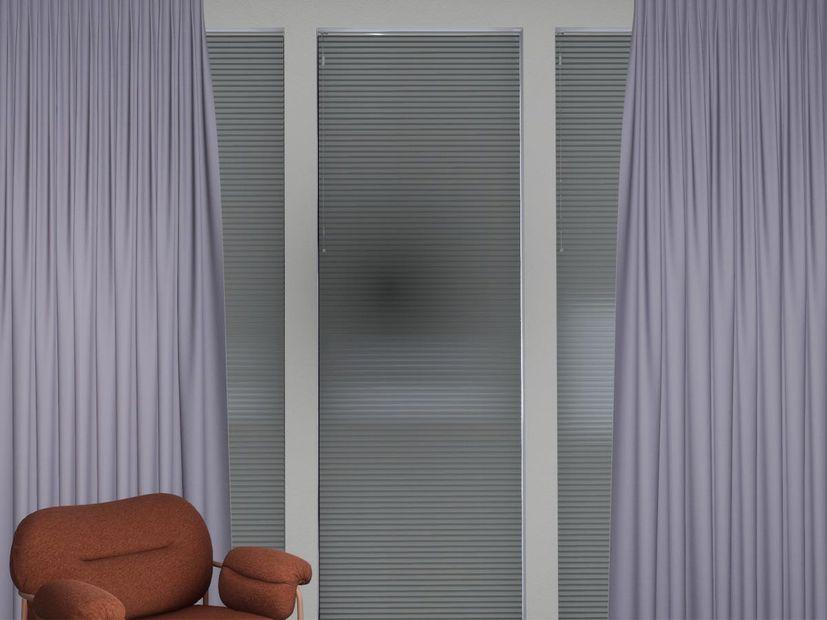 Plisségordijn dubbel R-line lichtgrijs